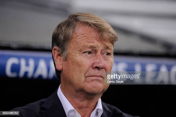 Manager Age Hareide of Malmo FF looks on during the UEFA Champions League Group A match between Real Madrid CF and Malmo FF at the Santiago Bernabeu...