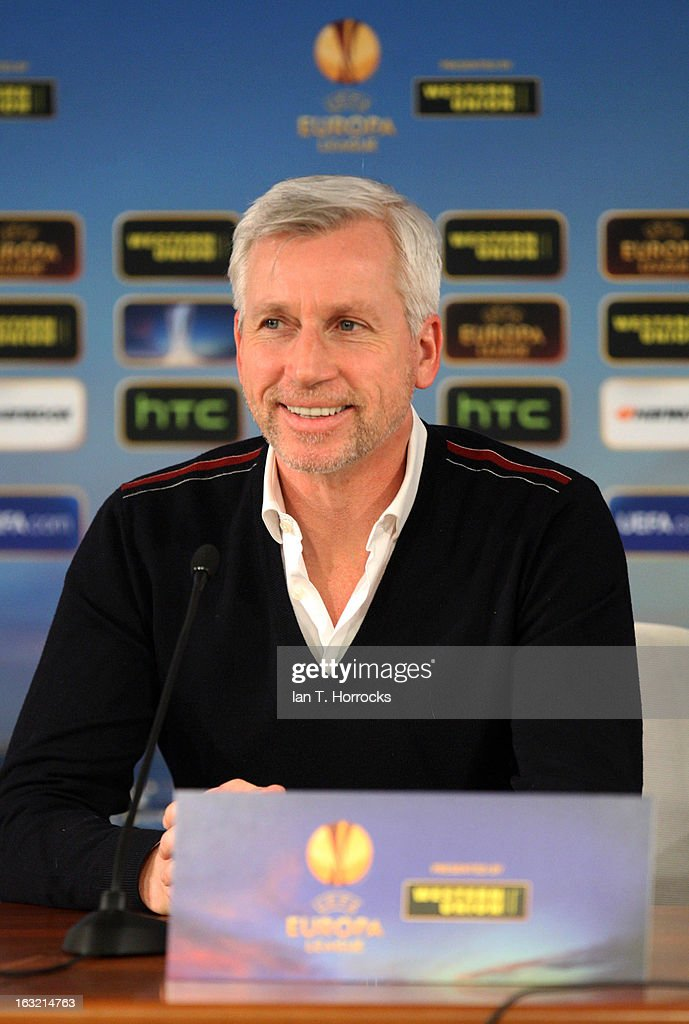 Manager <a gi-track='captionPersonalityLinkClicked' href=/galleries/search?phrase=Alan+Pardew&family=editorial&specificpeople=171147 ng-click='$event.stopPropagation()'>Alan Pardew</a> of Newcastle United attends a press conference, ahead of their UEFA Europa League round of 16 first leg match against Anzhi Makhachkalaat, at the Luzhniki Stadium on March 6, 2013 in Moscow, Russia.