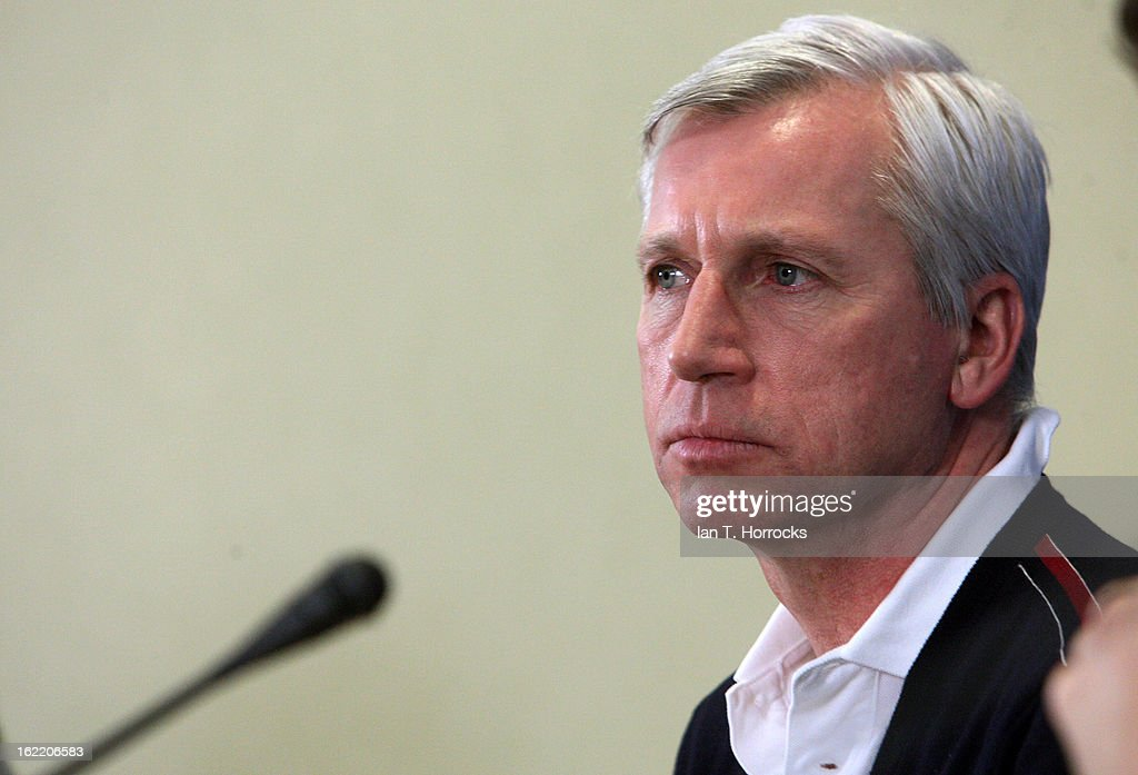 Manager Alan Pardew of Newcastle United FC attends a press conference ahead of their UEFA Europa League round of 32 second leg match against FC Metalist Kharkiv, at Metalist Stadium on February 20, 2013 in Kharkov, Ukraine.