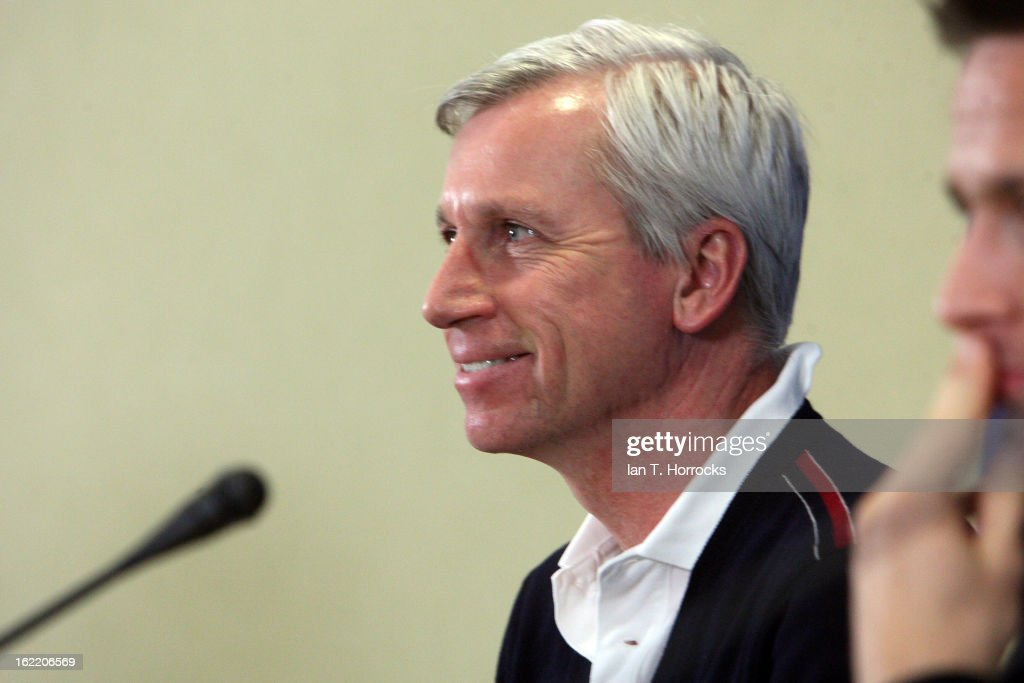 Manager Alan Pardew of Newcastle United FC smiles during a press conference ahead of their UEFA Europa League round of 32 second leg match against FC Metalist Kharkiv, at Metalist Stadium on February 20, 2013 in Kharkov, Ukraine.