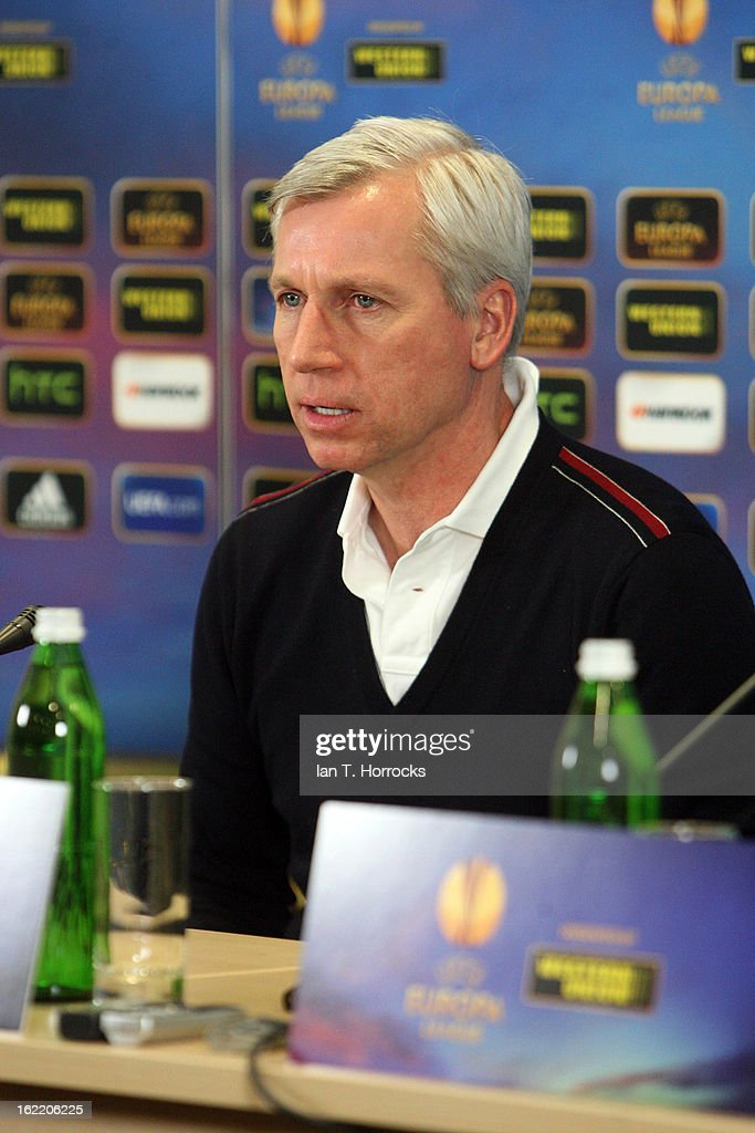 Manager <a gi-track='captionPersonalityLinkClicked' href=/galleries/search?phrase=Alan+Pardew&family=editorial&specificpeople=171147 ng-click='$event.stopPropagation()'>Alan Pardew</a> of Newcastle United FC speaks during a press conference ahead of their UEFA Europa League round of 32 second leg match against FC Metalist Kharkiv, at Metalist Stadium on February 20, 2013 in Kharkov, Ukraine.