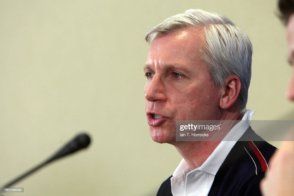 Manager Alan Pardew of Newcastle United FC speaks during a press conference ahead of their UEFA Europa League round of 32 second leg match against FC Metalist Kharkiv, at Metalist Stadium on February 20, 2013 in Kharkov, Ukraine.