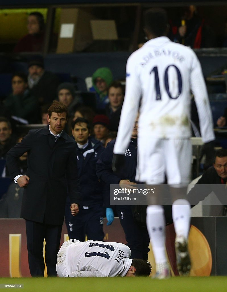 Manager Andre Villa Boas of Tottenham Hotspur looks as Gareth Bale of Tottenham Hotspur lies injured during the UEFA Europa League quarter-final first leg between Tottenham Hotspur FC and FC Basel 1893 at White Hart Lane on April 4, 2013 in London, England.