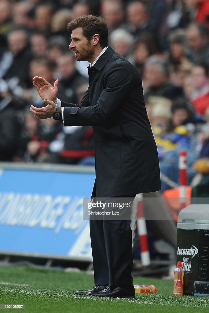 Manager Andre Villas Boas of Spurs during the Barclays Premier League match between Swansea City v Tottenham Hotspur at Liberty Stadium on March 30, 2013 in Swansea, Wales.