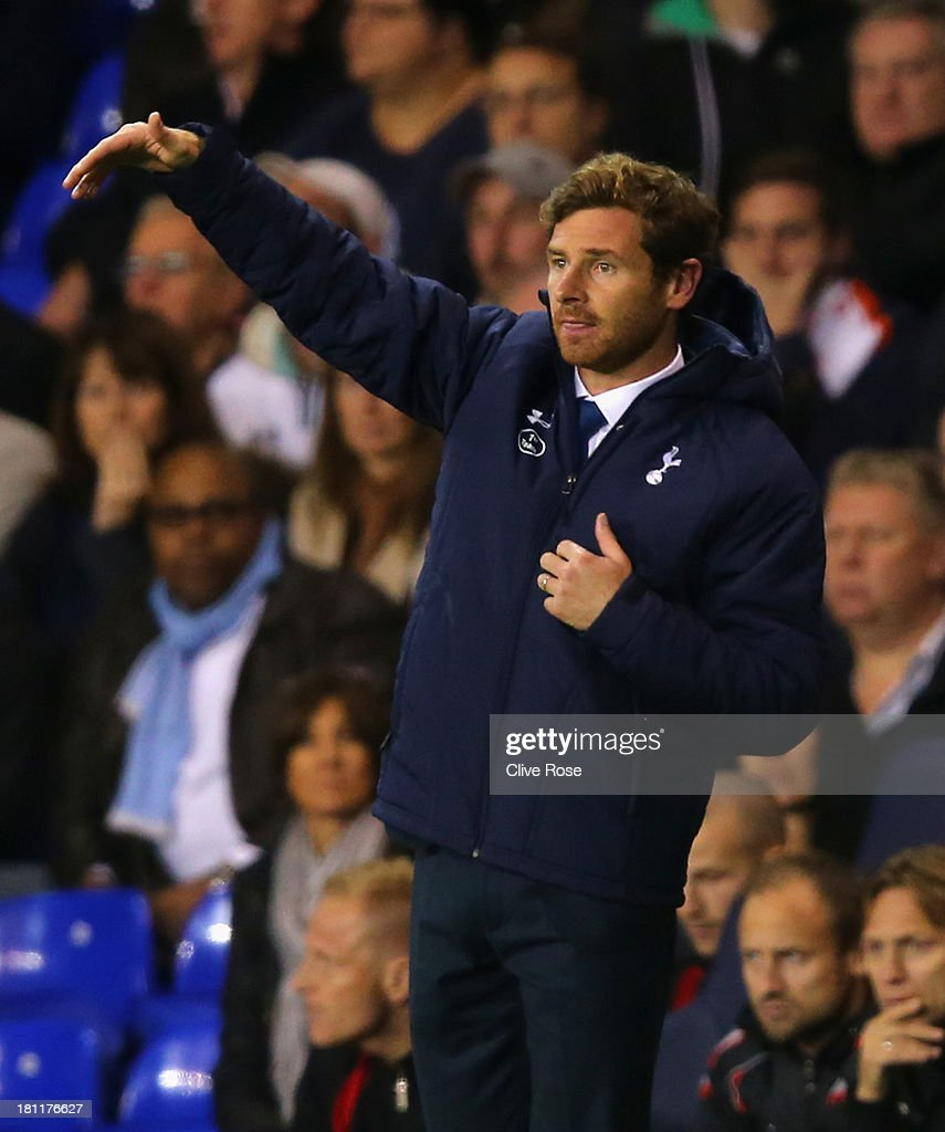 Manager Andre Villas Boas of Spurs gestures during the UEFA Europa League Group K match between Tottenham Hotspur FC and Tromso IL at White Hart Lane on September 19, 2013 in London, England.