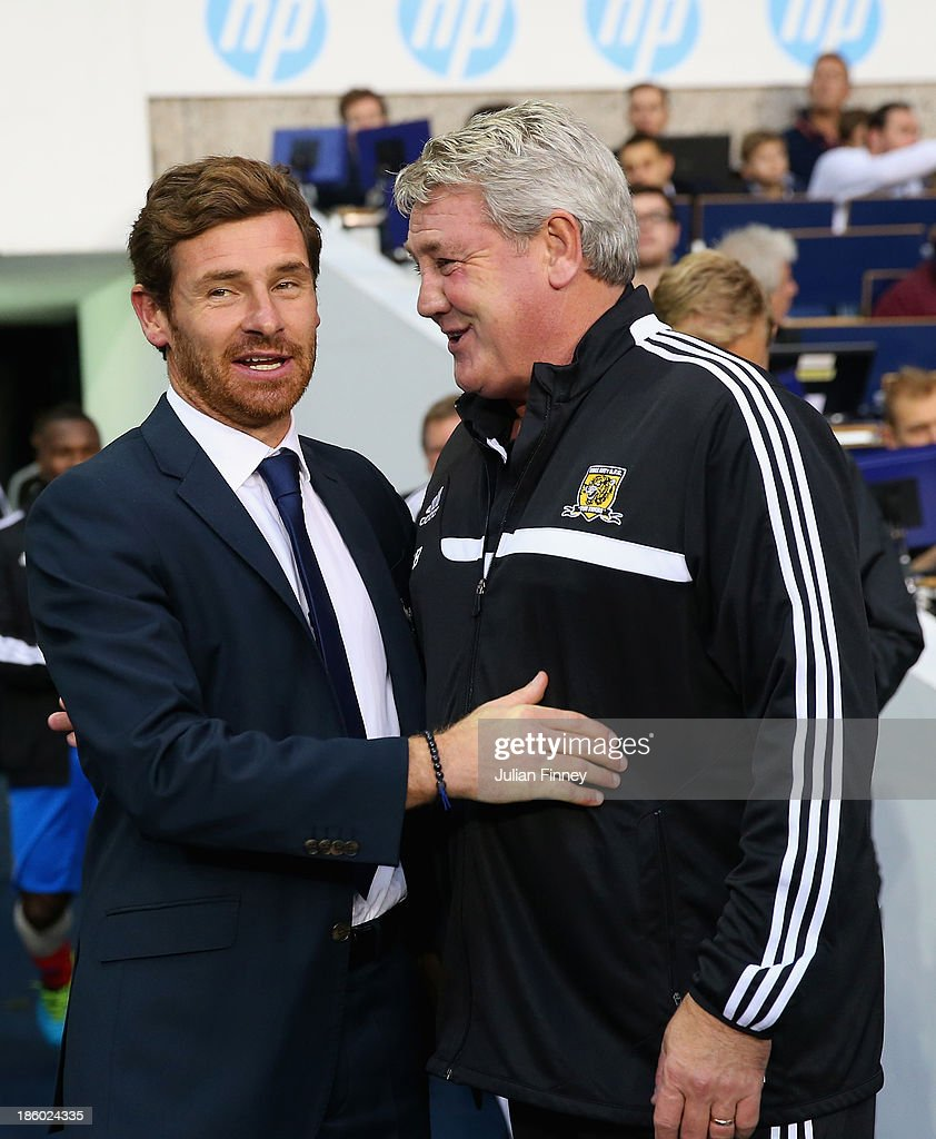 Manager Andre Villas Boas of Spurs shakes hands with Manager Steve Bruce of Hull City during the Barclays Premier League match between Tottenham Hotspur and Hull City at White Hart Lane on October 27, 2013 in London, England.
