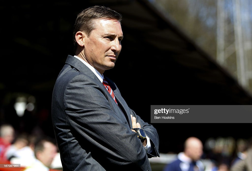 Manager Andy Scott of Aldershot looks on prior to the npower League Two match between Aldershot Town and Dagenham and Redbridge at the EBB Stadium on...