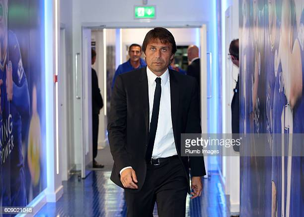 Manager Antonio Conte of Chelsea arrives at King power Stadium ahead of the EFL third round cup match between Leicester City and Chelsea at the King...
