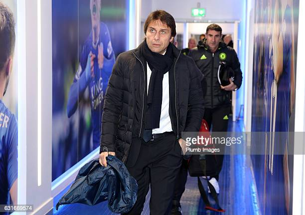 Manager Antonio Conte of Chelsea arrives at King Power Stadium ahead of the Premier League match between Leicester City and Chelsea at King Power...