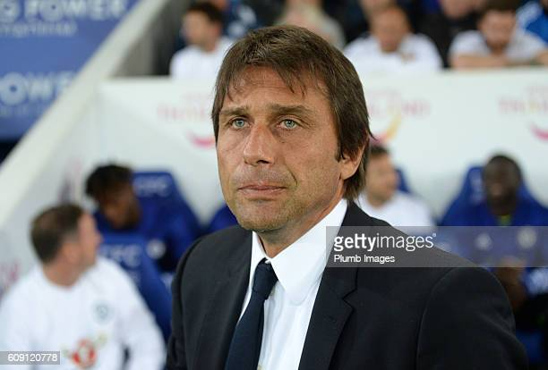 Manager Antonio Conte of Chelsea at King Power Stadium ahead of the EFL third round cup match between Leicester City and Chelsea at the King Power...