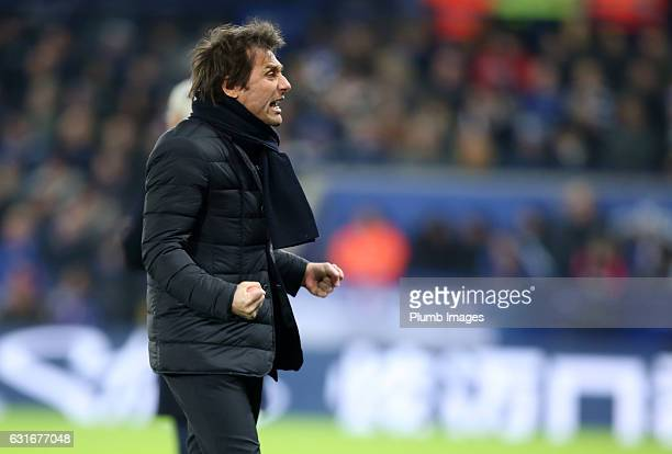 Manager Antonio Conte of Chelsea celebrates after Marcos Alonso of Chelsea scores to make it 01 during the Premier League match between Leicester...