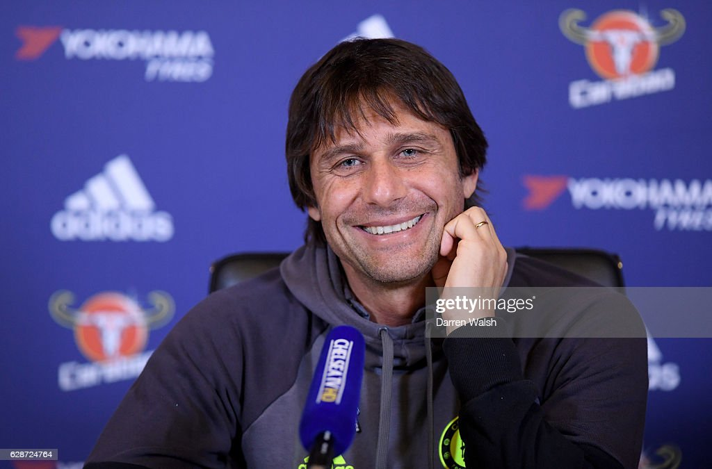 Manager Antonio Conte of Chelsea during a Press Conference at Chelsea Training Ground on December 9, 2016 in Cobham, England.
