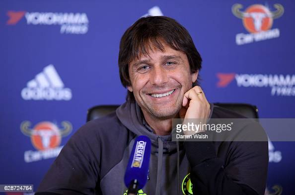Manager Antonio Conte of Chelsea during a Press Conference at Chelsea Training Ground on December 9 2016 in Cobham England
