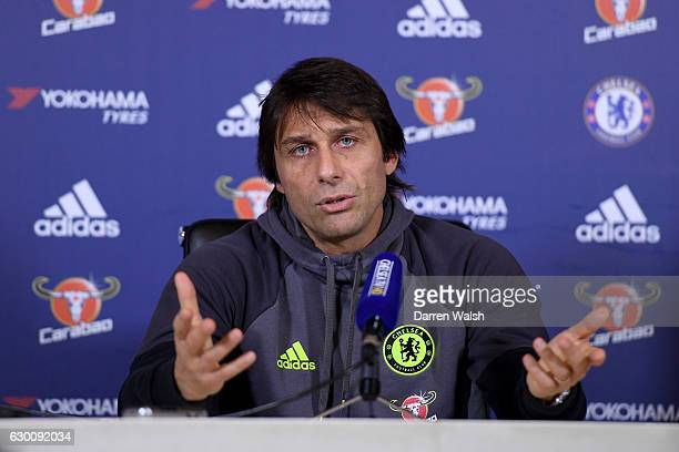 Manager Antonio Conte of Chelsea during a press conference at Chelsea Training Ground on December 16 2016 in Cobham England