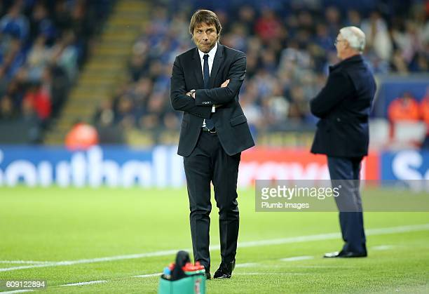 Manager Antonio Conte of Chelsea during the EFL third round cup match between Leicester City and Chelsea at the King Power Stadium on September 20th...
