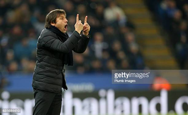 Manager Antonio Conte of Chelsea during the Premier League match between Leicester City and Chelsea at King Power Stadium on January 14 2017 in...