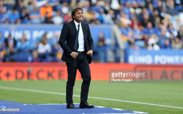 Manager Antonio Conte of Chelsea during the Premier League match between Leicester City and Chelsea at King Power Stadium on September 09 2017 in...