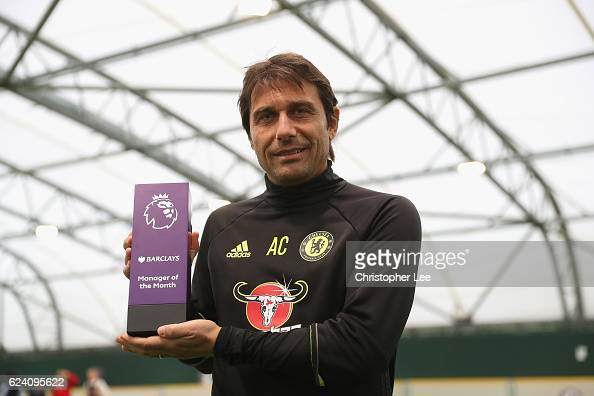 Manager Antonio Conte of Chelsea is awarded the October Manager of the Month at the Chelsea Training Ground on November 17 2016 in Cobham England