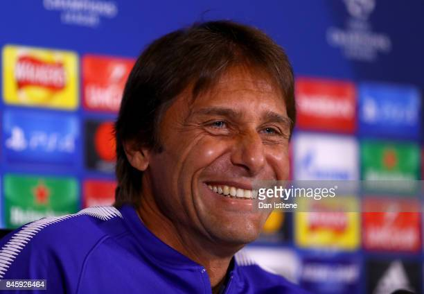 Manager Antonio Conte of Chelsea speaks to the media in a press conference ahead of thier UEFA Champions League group C match against FK Qarabag at...
