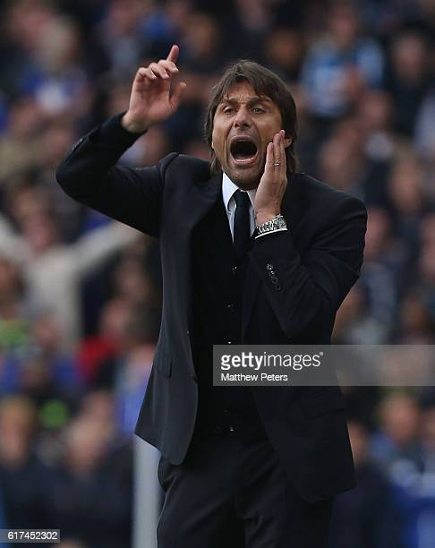 Manager Antonio Conte of Chelsea watches from the touchline during the Premier League match between Chelsea and Manchester United at Stamford Bridge...