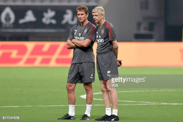 Manager Arsene Wenger and coach Jens Lehmann of Arsenal FC attend a training session ahead of 2017 International Champions Cup football match between...