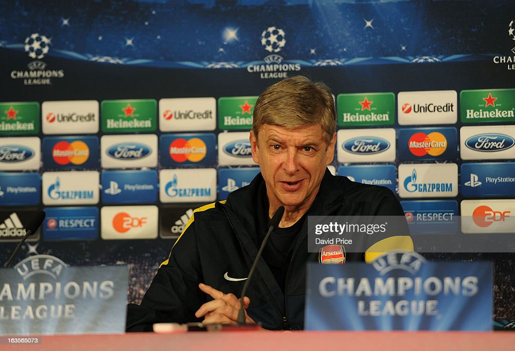 Manager <a gi-track='captionPersonalityLinkClicked' href=/galleries/search?phrase=Arsene+Wenger&family=editorial&specificpeople=171184 ng-click='$event.stopPropagation()'>Arsene Wenger</a> of Arsenal during a Press Conference ahead of their UEFA Champions League Round of 16 match against Bayern Munich at Allianz Arena on March 12, 2013 in Munich, Germany.