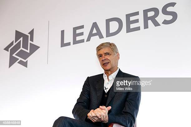 Manager Arsene Wenger of Arsenal FC speaks during day one of the Leaders Sport Performance Summit at the Emirates Stadium on November 12 2014 in...