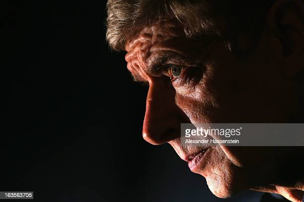 Manager Arsene Wenger of Arsenal looks on during a Arsenal FC press conference ahead of their UEFA Champions League round of 16 match against Bayern...
