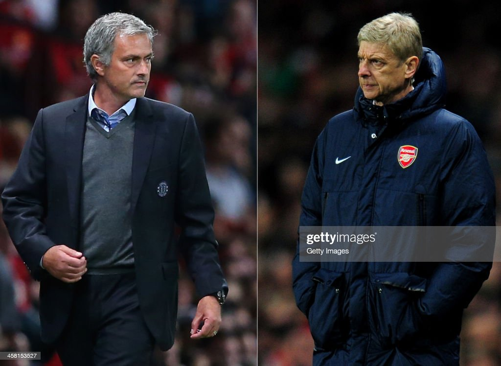 IMAGES - Image Numbers 177996036 (L) and 452339145) In this composite image a comparison has been made between Chelsea Manager Jose Mourinho (L) and Arsenal Manager <a gi-track='captionPersonalityLinkClicked' href=/galleries/search?phrase=Arsene+Wenger&family=editorial&specificpeople=171184 ng-click='$event.stopPropagation()'>Arsene Wenger</a>. The Premier League match between Arsenal and Chelsea takes place on December 23, 2013 at the Emirates Stadium, London, England. LONDON, ENGLAND - NOVEMBER 26: Manager <a gi-track='captionPersonalityLinkClicked' href=/galleries/search?phrase=Arsene+Wenger&family=editorial&specificpeople=171184 ng-click='$event.stopPropagation()'>Arsene Wenger</a> of Arsenal looks on during the UEFA Champions League Group F match between Arsenal and Olympique de Marseille at Emirates Stadium on November 26, 2013 in London, England.