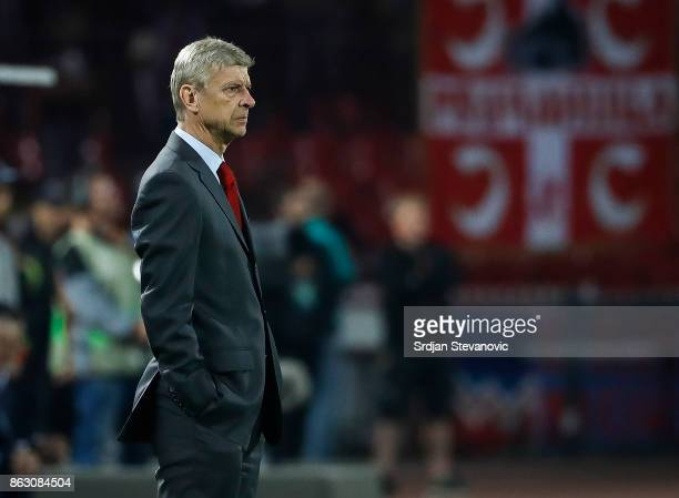 Manager Arsene Wenger of Arsenal looks on during the UEFA Europa League group H match between Crvena Zvezda and Arsenal FC at Rajko Mitic Stadium on...