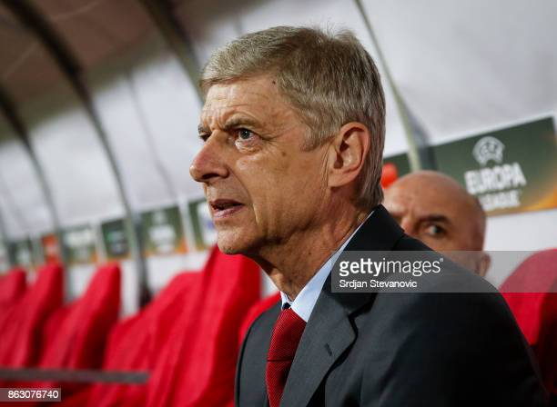 Manager Arsene Wenger of Arsenal looks on prior to the UEFA Europa League group H match between Crvena Zvezda and Arsenal FC at Rajko Mitic Stadium...