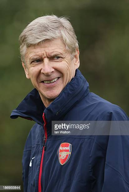 Manager Arsene Wenger of Arsenal oversees a training session at London Colney on November 5 2013 in St Albans England