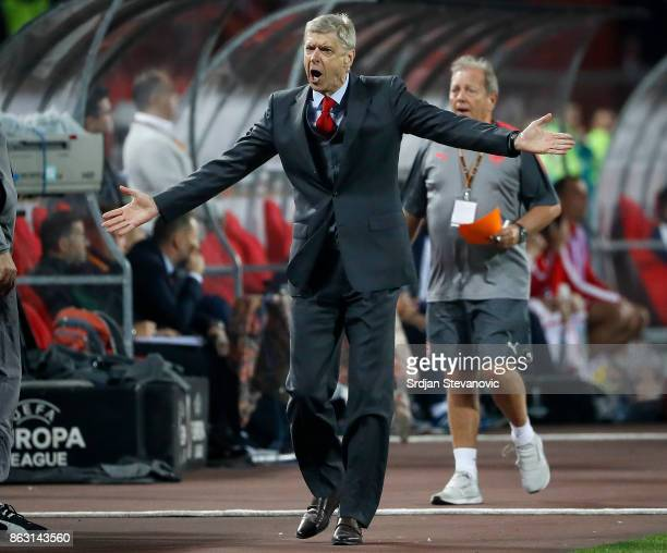 Manager Arsene Wenger of Arsenal reacts during the UEFA Europa League group H match between Crvena Zvezda and Arsenal FC at Rajko Mitic Stadium on...