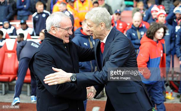 Manager Arsene Wenger of Arsenal welcomes manager Claudio Ranieri of Leicester City to The Emirates Stadium ahead of the Premier League match between...