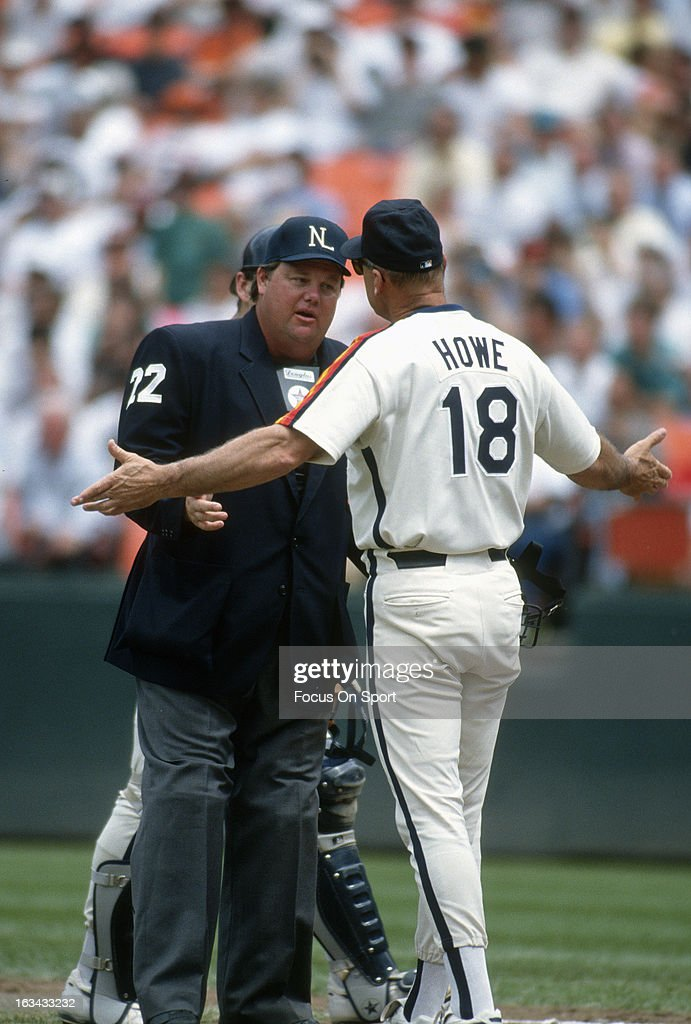 Manager Art Howe of the Houston Astros argues with the homeplate umpire Joe West during an Major League Baseball game circa 1993 Howe managed the...