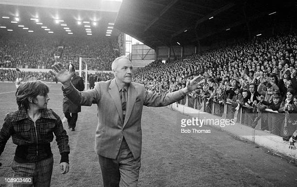 Manager Bill Shankly acknowledging Liverpool fans at Anfield before his Testimonial Match on 29th April 1975