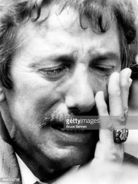 Manager Billy Martin of the New York Yankees is full of emotions during the service for catcher Thurman Munson after Munson was killed four days...