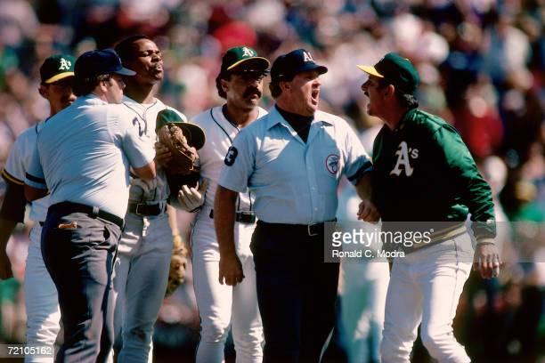 Manager Billy Martin of the Oakland Athletics argues with an umpire during a regular season game at OaklandAlamdea County Stadium in 1982 in Oakland...