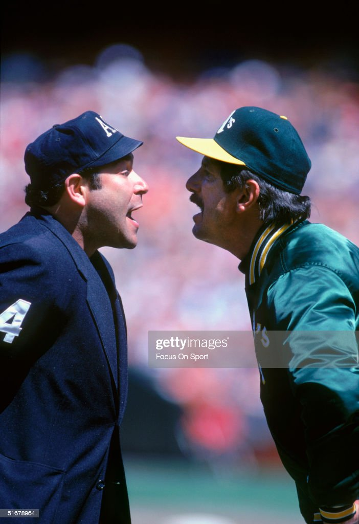 Manager Billy Martin of the Oakland Athletics argues with umpire Al Clark.