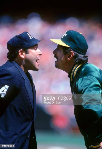 Manager Billy Martin of the Oakland Athletics argues with umpire Al Clark