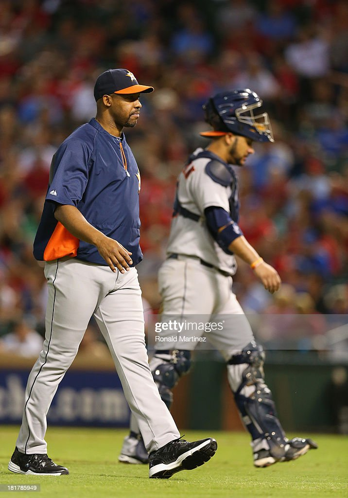 Manager Bo Porter of the Houston Astros at Rangers Ballpark in Arlington on September 24, 2013 in Arlington, Texas.