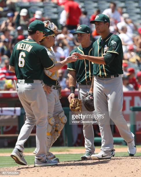Manager Bob Melvin of the Oakland Athletics takes out pitcher Sean Manaea of the game in the fourth inning of the MLB game against the Los Angeles...