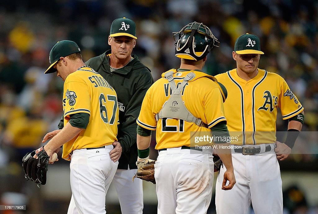 Manager <a gi-track='captionPersonalityLinkClicked' href=/galleries/search?phrase=Bob+Melvin&family=editorial&specificpeople=239192 ng-click='$event.stopPropagation()'>Bob Melvin</a> #6 of the Oakland Athletics takes the ball from pitcher <a gi-track='captionPersonalityLinkClicked' href=/galleries/search?phrase=Dan+Straily&family=editorial&specificpeople=9615114 ng-click='$event.stopPropagation()'>Dan Straily</a> #67 taking him out of the game in the sixth inning against the Cleveland Indians at O.co Coliseum on August 17, 2013 in Oakland, California.
