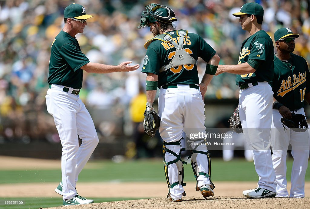 Manager <a gi-track='captionPersonalityLinkClicked' href=/galleries/search?phrase=Bob+Melvin&family=editorial&specificpeople=239192 ng-click='$event.stopPropagation()'>Bob Melvin</a> #6 of the Oakland Athletics takes the ball from pitcher <a gi-track='captionPersonalityLinkClicked' href=/galleries/search?phrase=Tommy+Milone&family=editorial&specificpeople=8240408 ng-click='$event.stopPropagation()'>Tommy Milone</a> #57 taking him out of the game in the fifth inning against the Cleveland Indians at O.co Coliseum on August 18, 2013 in Oakland, California.