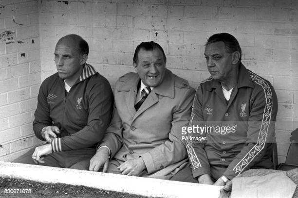 Manager Bob Paisley who took over from Bill Shankly in 1974 is flanked by trainer Ronnie Moran and assistant manager Joe Fagan *Liverpool FC's...