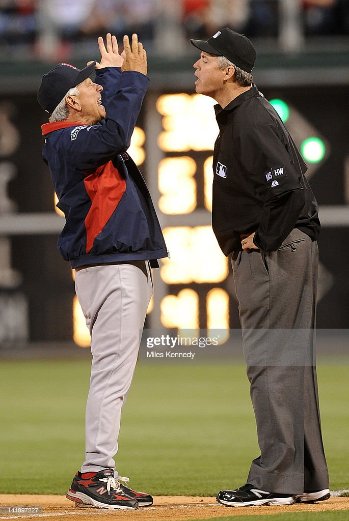 Manager <a gi-track='captionPersonalityLinkClicked' href=/galleries/search?phrase=Bobby+Valentine&family=editorial&specificpeople=214135 ng-click='$event.stopPropagation()'>Bobby Valentine</a> #25 of the Boston Red Sox argues with first base umpire Gary Darling #37 during the ninth inning against the Philadelphia Phillies on May 18, 2012 at Citizens Bank Park in Philadelphia, Pennsylvania. The Phillies won 6-4.
