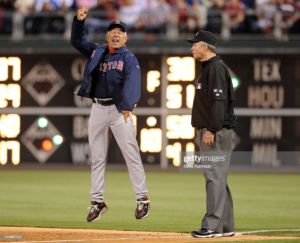 Manager Bobby Valentine #25 of the Boston Red Sox argues with first base umpire Gary Darling #37 during the ninth inning against the Philadelphia Phillies on May 18, 2012 at Citizens Bank Park in Philadelphia, Pennsylvania. The Phillies won 6-4.
