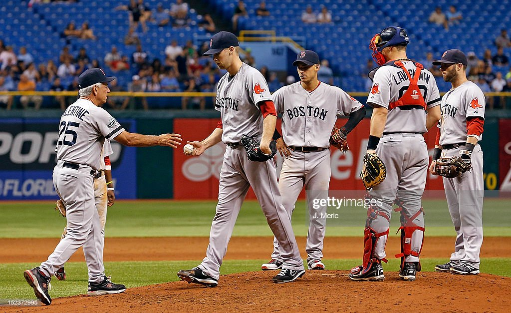 Manager <a gi-track='captionPersonalityLinkClicked' href=/galleries/search?phrase=Bobby+Valentine&family=editorial&specificpeople=214135 ng-click='$event.stopPropagation()'>Bobby Valentine</a> #25 of the Boston Red Sox makes a pitching change against the Tampa Bay Rays during the game at Tropicana Field on September 19, 2012 in St. Petersburg, Florida.