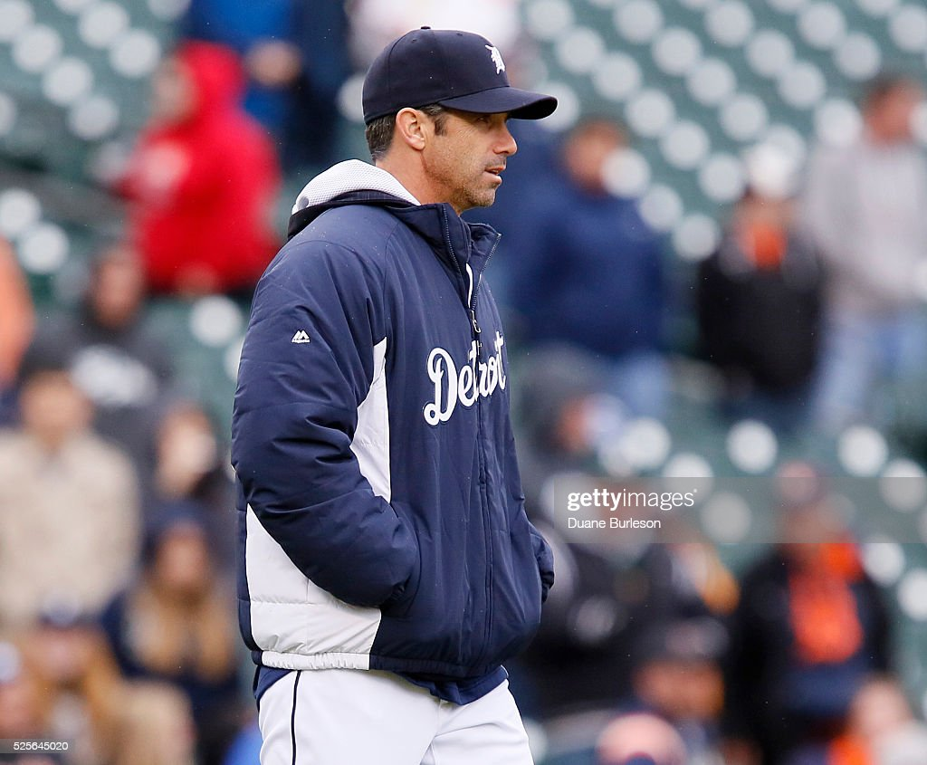 Manager Brad Ausmus #7 of the Detroit Tigers heads for the mound during the sixth inning to pull Anibal Sanchez of the Detroit Tigers during a game against the Oakland Athletics at Comerica Park on April 28, 2016 in Detroit, Michigan. The Tigers defeated the Athletics 7-3.