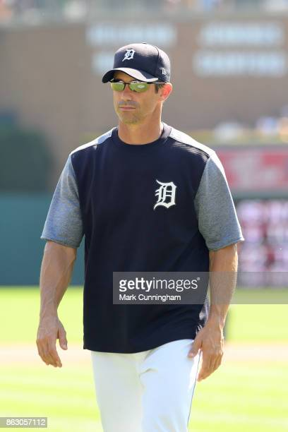 Manager Brad Ausmus of the Detroit Tigers looks on during the game against the Minnesota Twins at Comerica Park on September 24 2017 in Detroit...